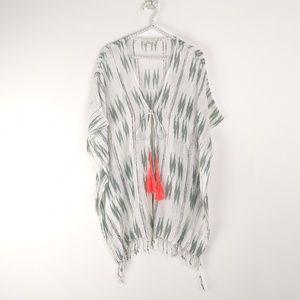 Elan Boho Tassel Tie Poncho Cover up with Fringe